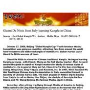 Dall'Italia alla Cina per il Kung Fu