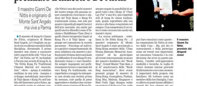 """Gazzetta del Mezzogiorno"" Kung Fu Choy Lay Fut Sifu de Nittis"