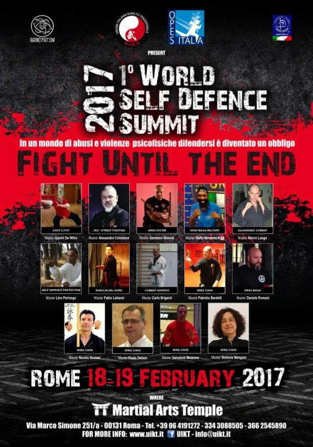 1° WORLD SELF DEFENSE SUMMIT- Roma 18-19 Febbraio 2017